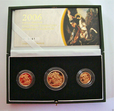 2006 GOLD PROOF THREE COIN SET COLLECTION £2 SOVEREIGN 1/2 HALF SOVEREIGN