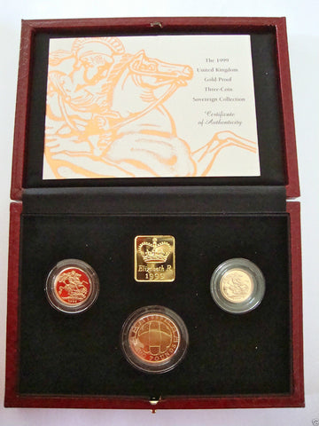 1999 GOLD PROOF THREE COIN SET COLLECTION £2 SOVEREIGN 1/2 HALF SOVEREIGN