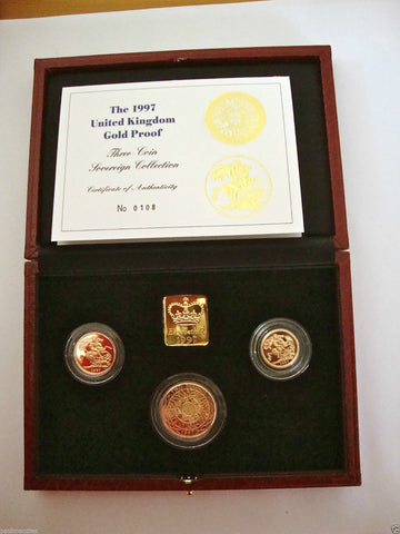 1997 GOLD PROOF THREE COIN SET COLLECTION £2 SOVEREIGN 1/2 HALF SOVEREIGN