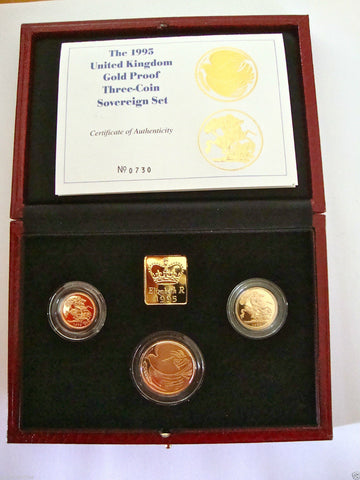 1995 GOLD PROOF THREE COIN SET COLLECTION £2 SOVEREIGN 1/2 HALF SOVEREIGN
