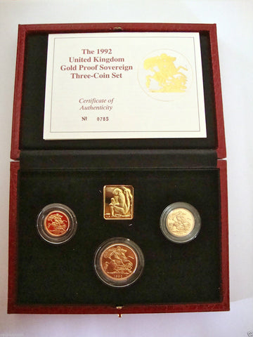1992 GOLD PROOF THREE COIN SET COLLECTION £2 SOVEREIGN 1/2 HALF SOVEREIGN