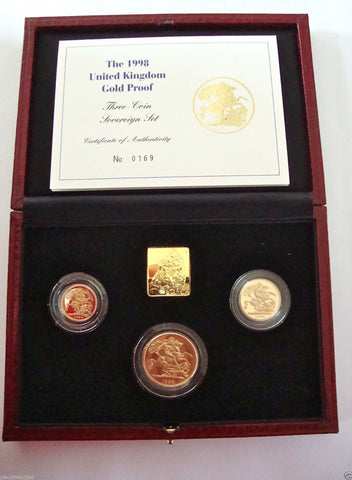 1998 GOLD PROOF THREE COIN SET COLLECTION £2 SOVEREIGN 1/2 HALF SOVEREIGN