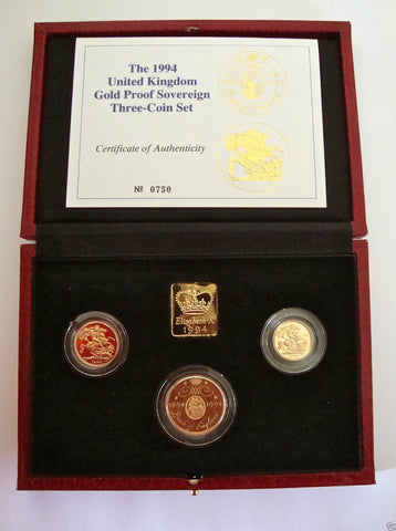 1994 GOLD PROOF THREE COIN SET COLLECTION £2 SOVEREIGN 1/2 HALF SOVEREIGN