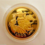 2005 ROYAL MINT ST GEORGE SOLID 22K GOLD PROOF HALF SOVEREIGN COIN BOX COA