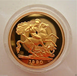1990 ROYAL MINT ST GEORGE SOLID 22K GOLD PROOF HALF SOVEREIGN COIN BOX COA