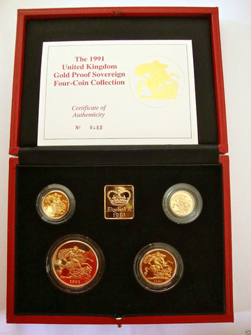 1991 GOLD PROOF FOUR COIN SET £5 £2 SOVEREIGN 1/2 HALF SOVEREIGN