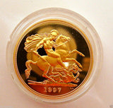 1997 ROYAL MINT ST GEORGE SOLID 22K GOLD PROOF HALF SOVEREIGN COIN BOX COA