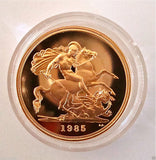 1985 ROYAL MINT ST GEORGE SOLID 22K GOLD PROOF HALF SOVEREIGN COIN BOX COA