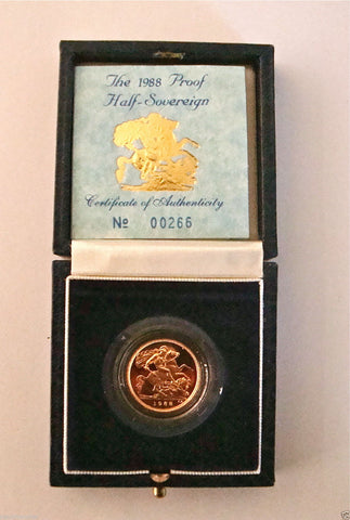 1988 ROYAL MINT ST GEORGE SOLID 22K GOLD PROOF HALF SOVEREIGN COIN BOX COA