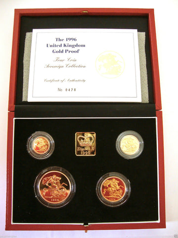 1996 GOLD PROOF FOUR COIN SET £5 £2 SOVEREIGN 1/2 HALF SOVEREIGN