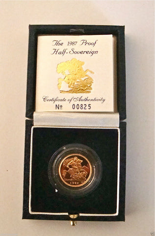 1987 ROYAL MINT ST GEORGE SOLID 22K GOLD PROOF HALF SOVEREIGN COIN BOX COA