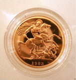 1983 ROYAL MINT ST GEORGE SOLID 22K GOLD PROOF HALF SOVEREIGN COIN BOX COA