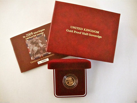 2004 ROYAL MINT ST GEORGE SOLID 22K GOLD PROOF HALF SOVEREIGN COIN BOX COA