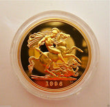 1996 ROYAL MINT ST GEORGE SOLID 22K GOLD PROOF HALF SOVEREIGN COIN BOX COA