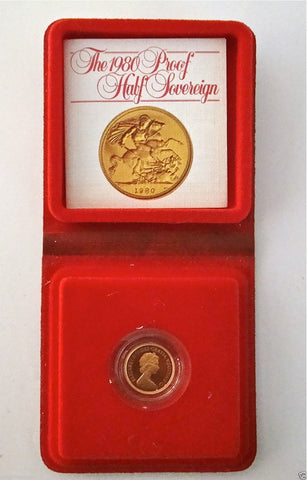 1980 ROYAL MINT ST GEORGE SOLID 22K GOLD PROOF HALF SOVEREIGN COIN BOX COA