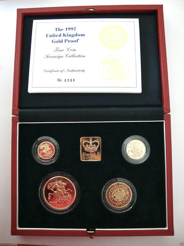 1997 GOLD PROOF FOUR COIN SET £5 £2 BI-METAL, SOVEREIGN 1/2 HALF SOVEREIGN