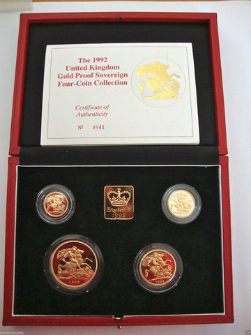 1992 GOLD PROOF FOUR COIN SET £5 £2 SOVEREIGN 1/2 HALF SOVEREIGN