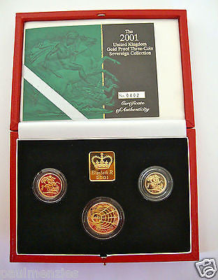2001 GOLD PROOF THREE COIN SET COLLECTION £2 SOVEREIGN 1/2 HALF SOVEREIGN