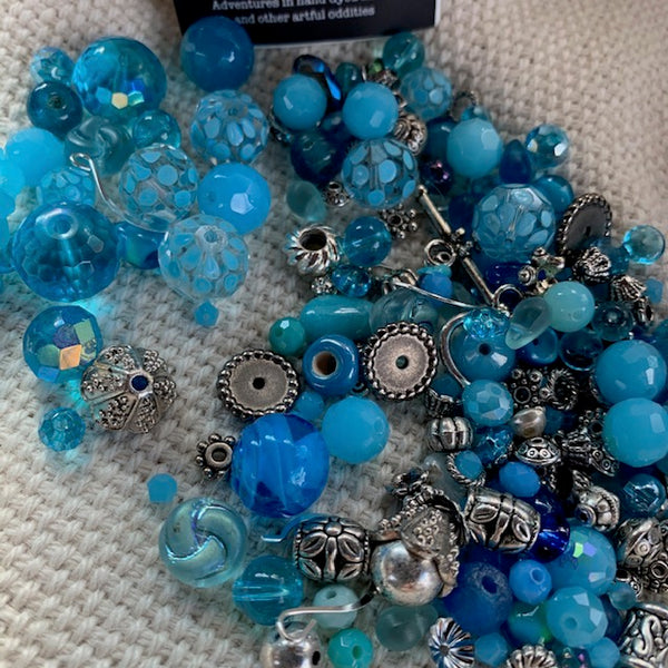 Aqua and Silver Bead Mix with Silver Findings 4.83 oz.