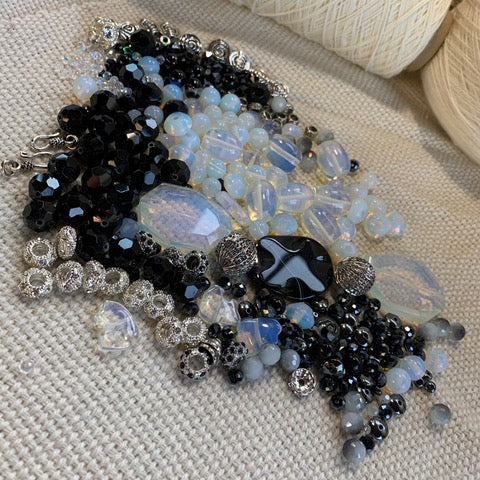 Black and Opalite Bead Mix with Silver Findings - 11oz