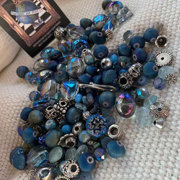 Dark Blue and Silver Iridescent Bead Mix - 5.6 oz