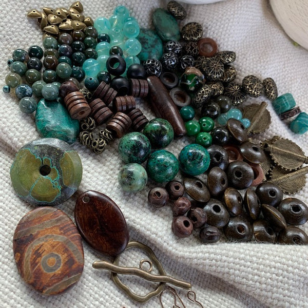 Earthy Bead Mix with Brass Findings - 11.39 oz.