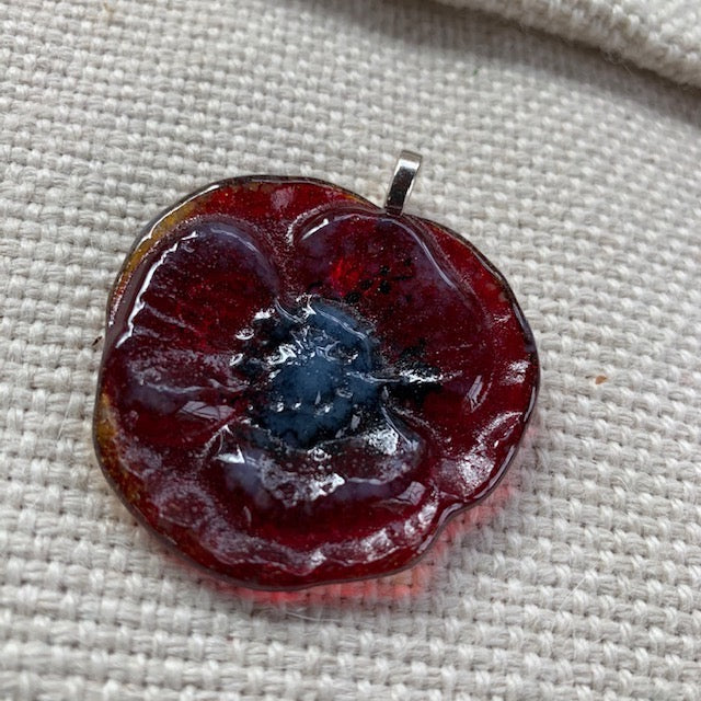 Glass Poppy Pendant - Approx. 2.5""