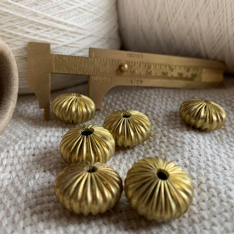 Vintage Corrugated Melon Beads - 6 beads