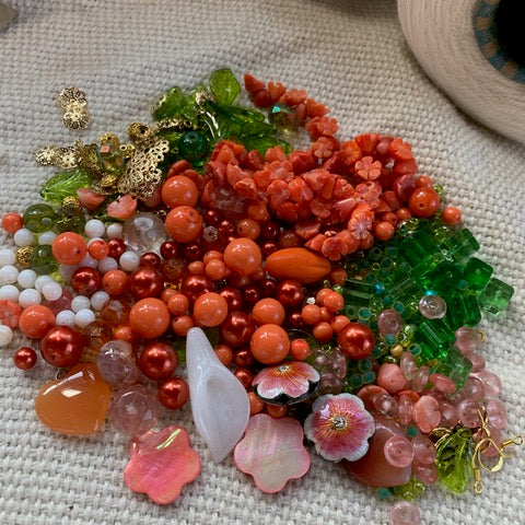 Green, Coral and White Bead Mix with Floral Beads, Pendants, and Findings - 6.31oz