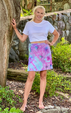 Tie Dyed Short Rayon Wrap Skirt - Blue and Pink