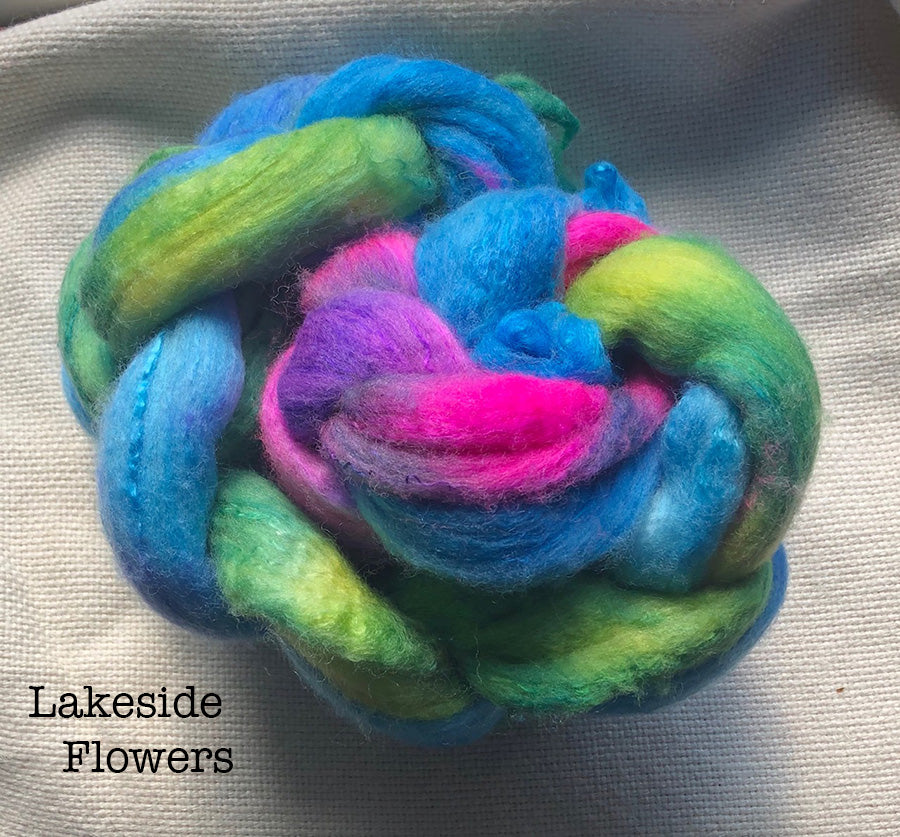 Polwarth / Silk Roving - Lakeside Flowers - Aprox. 4 oz