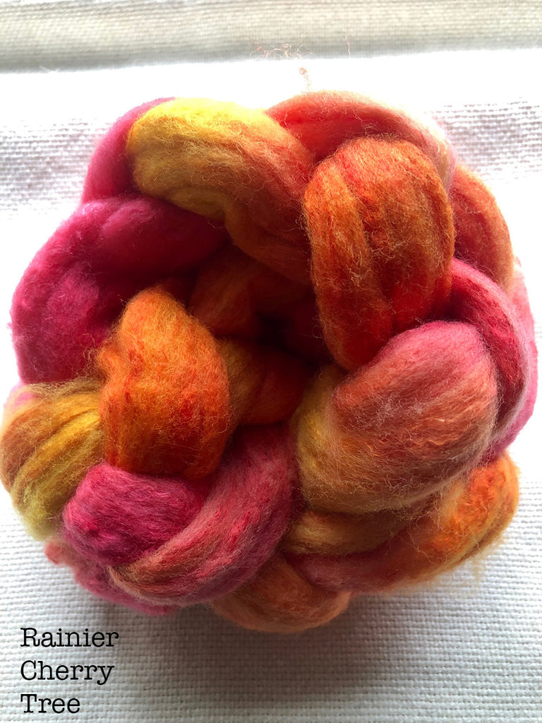 Polwarth / Silk Roving - Rainer Cherry Tree- Aprox. 6 oz