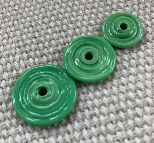 Seafood Green Lampwork Glass Discs