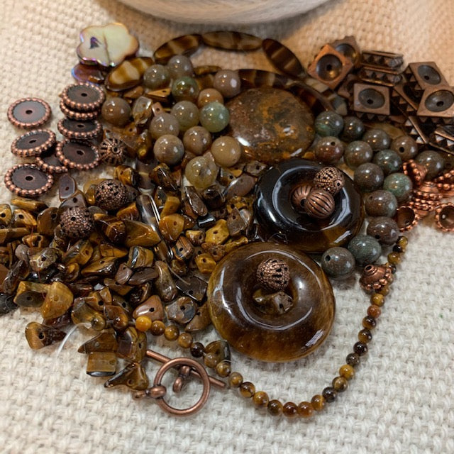 Tiger Stones and Agates Bead Mix with Copper Findings - 5.74 oz.