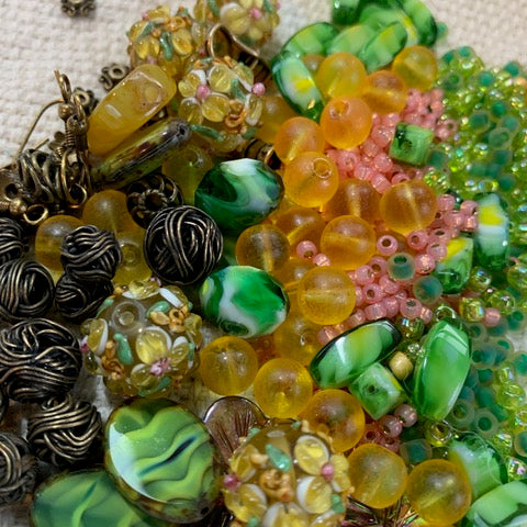 Yellow, Green and Pink Bead Mix with Lampwork Beads and Antique Bronze Findings - 5.92oz.