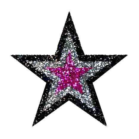Hot Pink, Silver,  Black Glitter Sticker