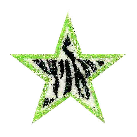 Black Zebra with Lime Green Glitter Sticker