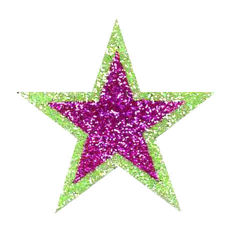 Hot Pink & Lime Green Glitter Sticker