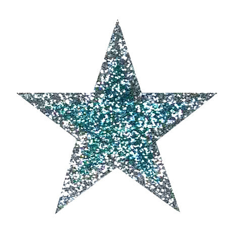 Columbia Blue with Silver Glitter Sticker