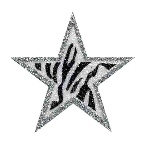 Black Zebra with Silver Glitter Sticker