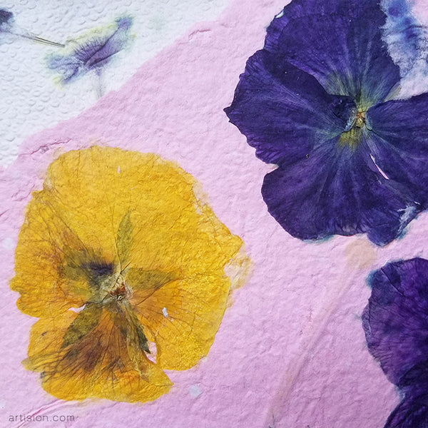 handmade paper with pansies