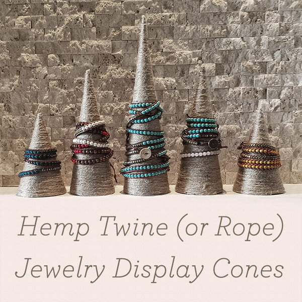 Hemp Wrapped Jewelry Display Cones