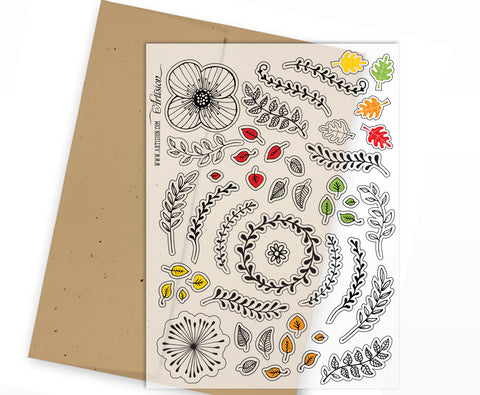 Mini Clear Planner Stickers - Branches & Leaves