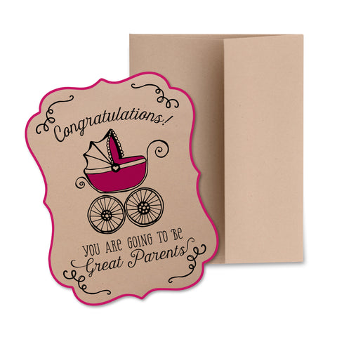 New Baby Greeting Card (Pink/Purple)
