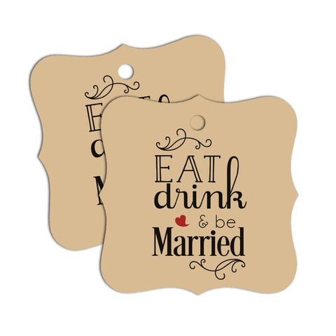 """Eat, Drink and be Married"" Favor Tags 60-pk"