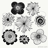 Hand Drawn Vector Abstract Flowers