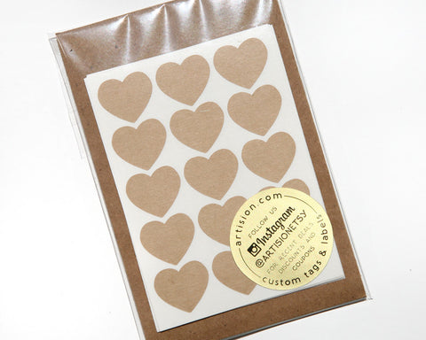 Mini Heart Stickers 90 ct. - Brown Kraft