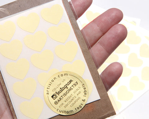 Mini Heart Stickers 90 ct. - Pastel Yellow