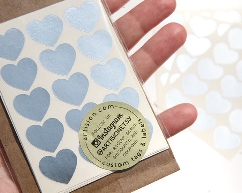 Mini Heart Stickers 90 ct. - Silver Foil