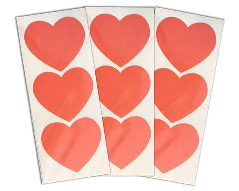 Large Heart Stickers 30 ct. - Coral